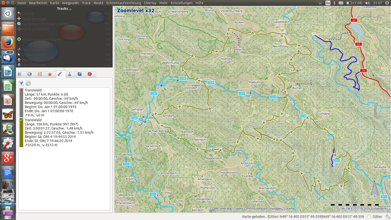 Benutzeroberfläche von QLandkarte GT